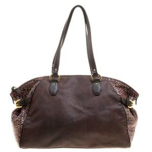 Etro Nylon Patent Leather Canvas Satchel in Brown