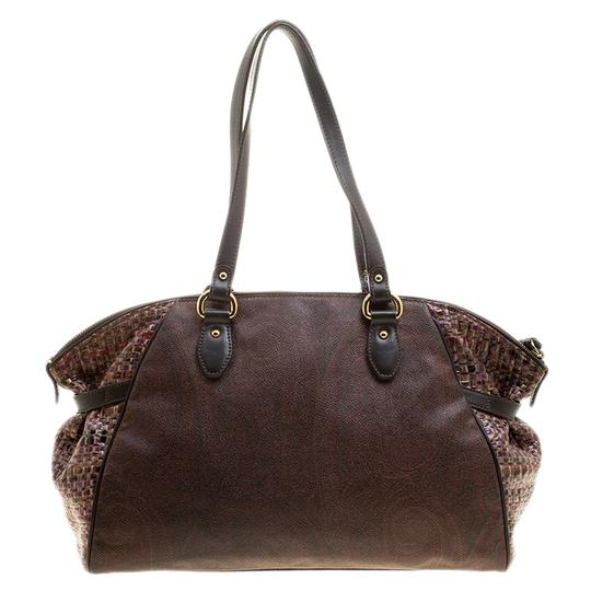 Etro Nylon Patent Leather Canvas Satchel in Brown Image 1