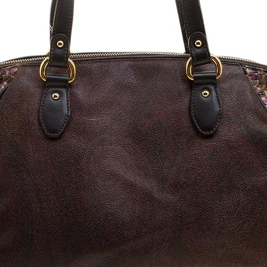 Etro Nylon Patent Leather Canvas Satchel in Brown Image 10