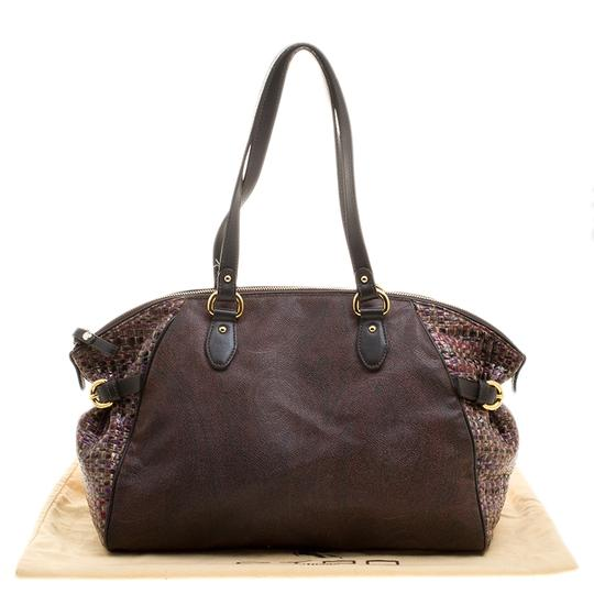 Etro Nylon Patent Leather Canvas Satchel in Brown Image 11