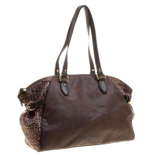 Etro Nylon Patent Leather Canvas Satchel in Brown Image 4