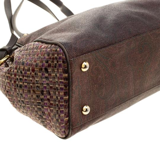 Etro Nylon Patent Leather Canvas Satchel in Brown Image 5