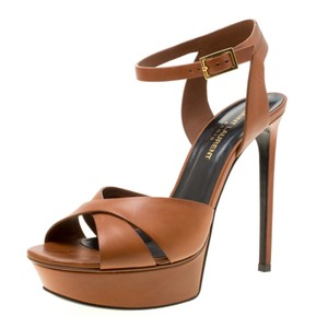 Saint Laurent Leather Bianca Platform Brown Sandals