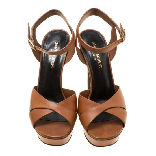 Saint Laurent Leather Bianca Platform Brown Sandals Image 1