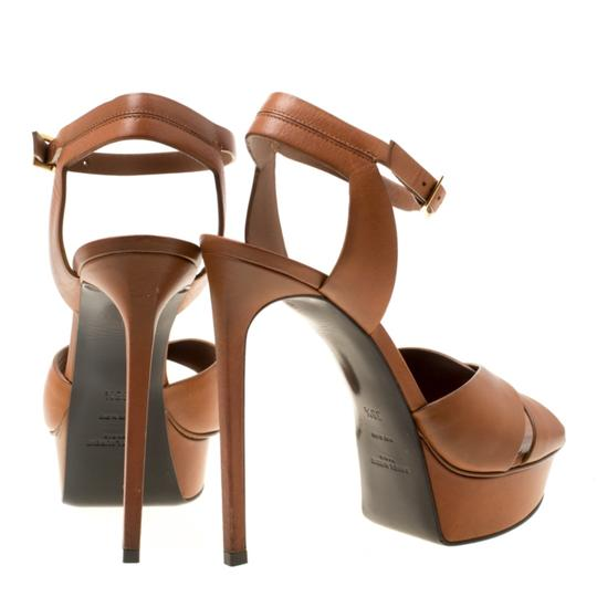 Saint Laurent Leather Bianca Platform Brown Sandals Image 2