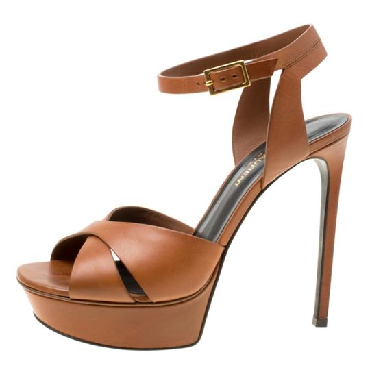 Saint Laurent Leather Bianca Platform Brown Sandals Image 4