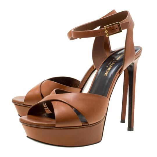Saint Laurent Leather Bianca Platform Brown Sandals Image 5