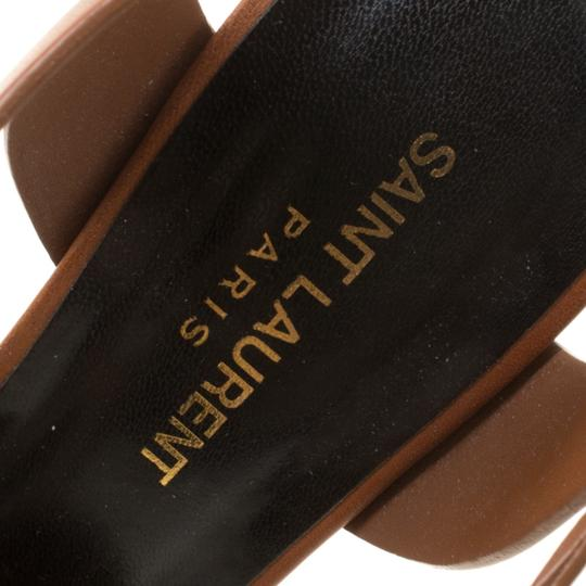 Saint Laurent Leather Bianca Platform Brown Sandals Image 6
