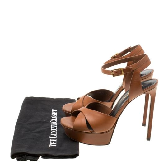 Saint Laurent Leather Bianca Platform Brown Sandals Image 7