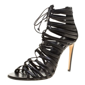 Casadei Strappy Leather Lace Black Sandals
