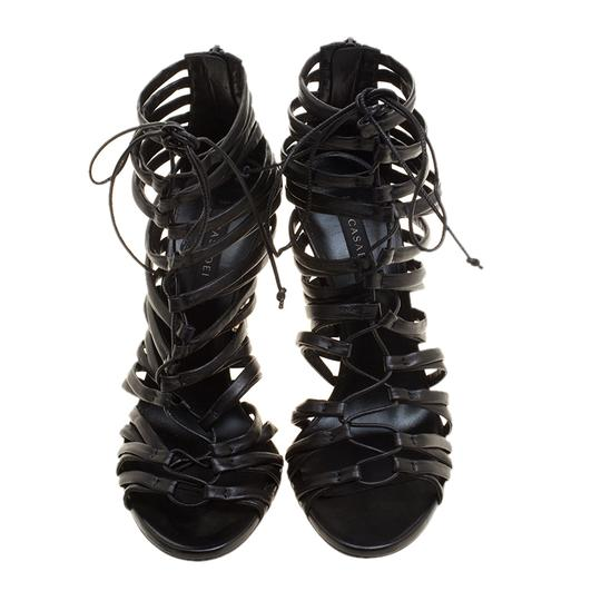 Casadei Strappy Leather Lace Black Sandals Image 2