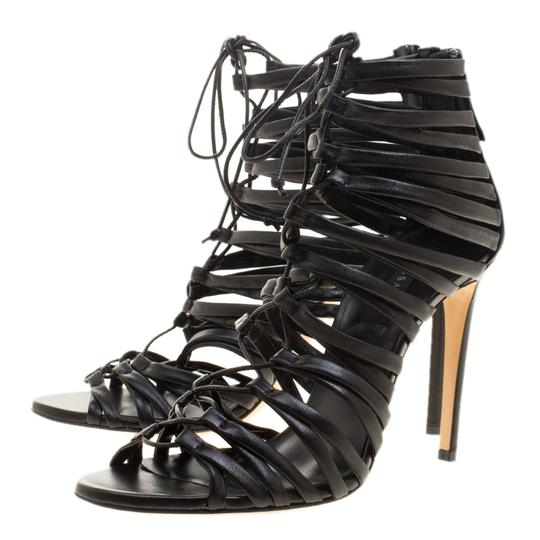 Casadei Strappy Leather Lace Black Sandals Image 4