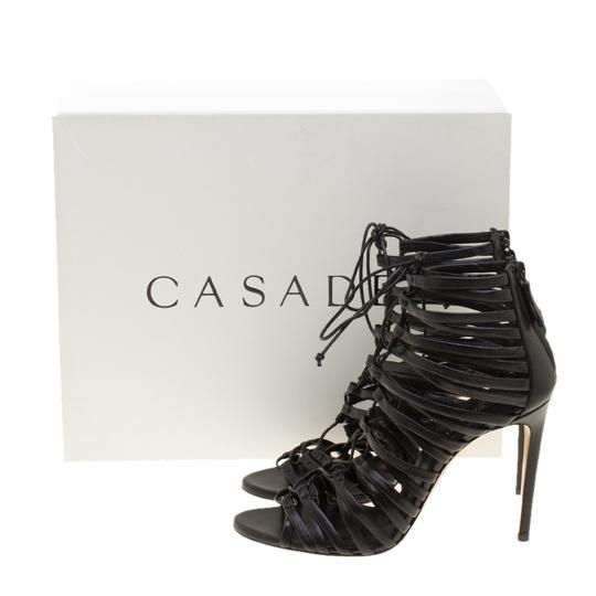 Casadei Strappy Leather Lace Black Sandals Image 7