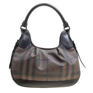 Burberry Canvas Pvc Leather Hobo Bag