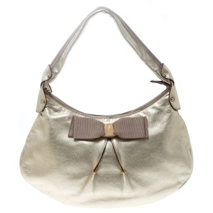 Salvatore Ferragamo Leather Fabric Hobo Bag