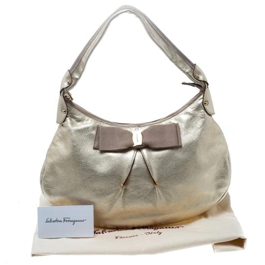 Salvatore Ferragamo Leather Fabric Hobo Bag Image 10