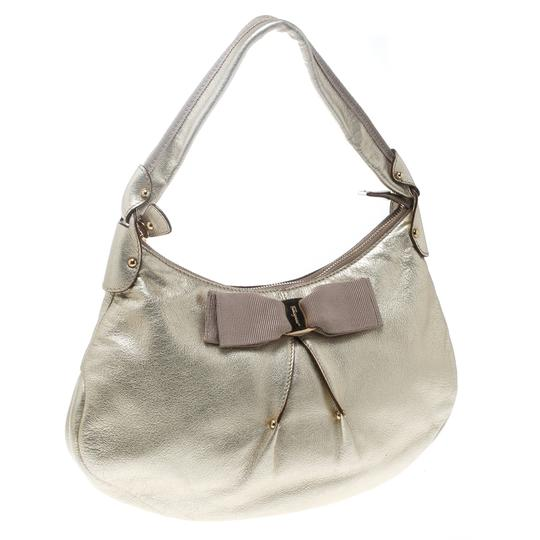 Salvatore Ferragamo Leather Fabric Hobo Bag Image 4