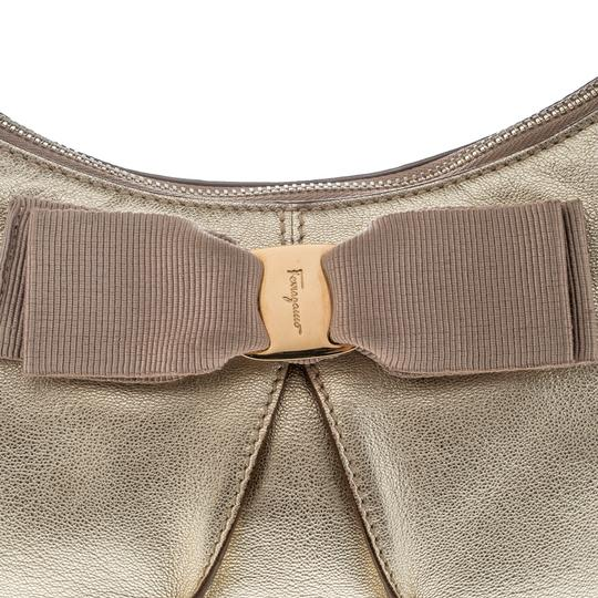 Salvatore Ferragamo Leather Fabric Hobo Bag Image 7