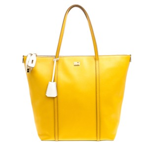 Dolce&Gabbana Leather Fabric Tote in Yellow