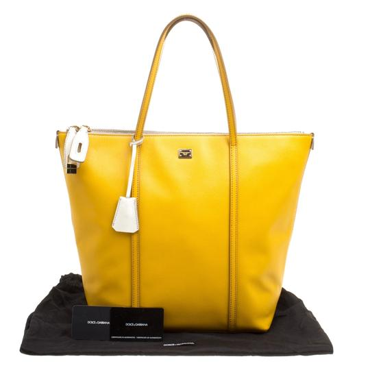 Dolce&Gabbana Leather Fabric Tote in Yellow Image 10