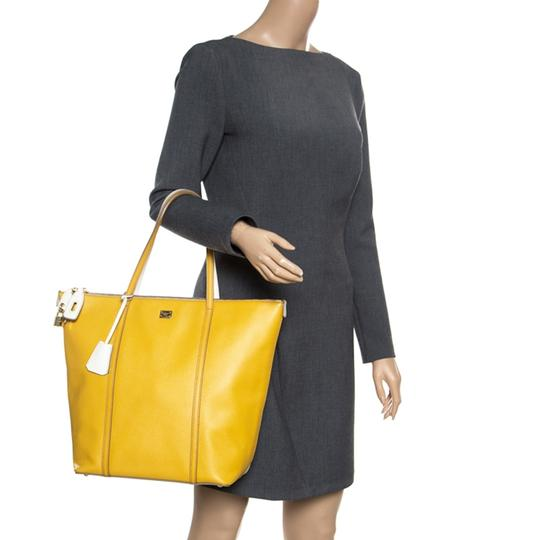 Dolce&Gabbana Leather Fabric Tote in Yellow Image 2