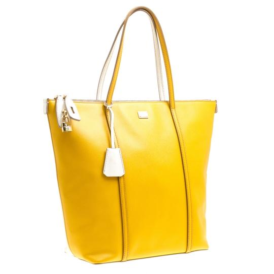 Dolce&Gabbana Leather Fabric Tote in Yellow Image 4