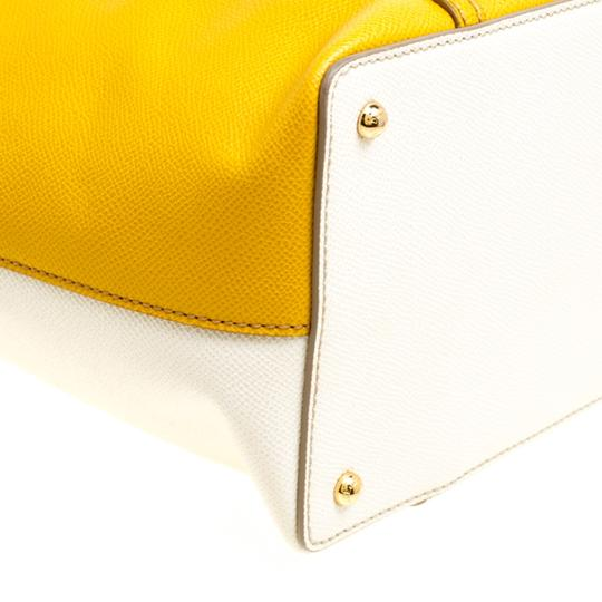 Dolce&Gabbana Leather Fabric Tote in Yellow Image 5