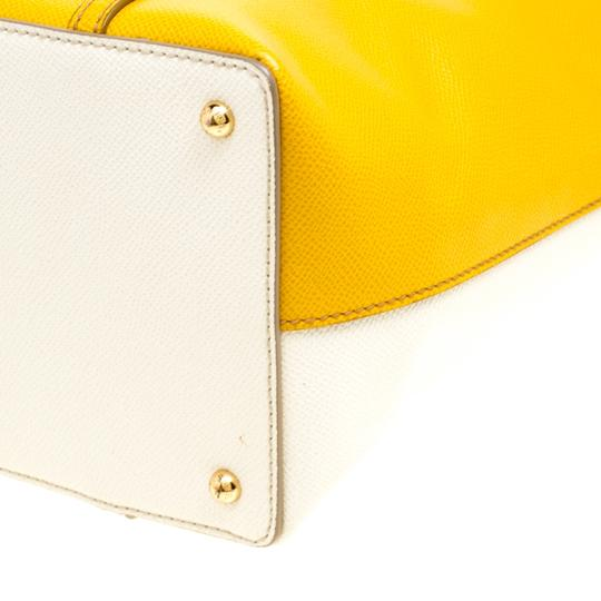 Dolce&Gabbana Leather Fabric Tote in Yellow Image 6