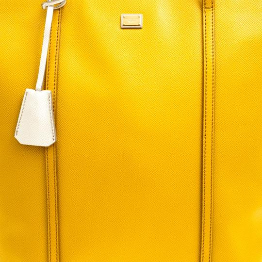 Dolce&Gabbana Leather Fabric Tote in Yellow Image 9