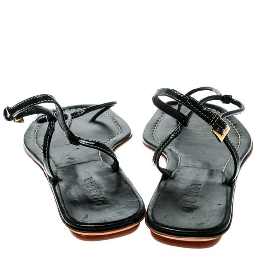 Prada Patent Leather Ankle Strap Leather Black Flats Image 2