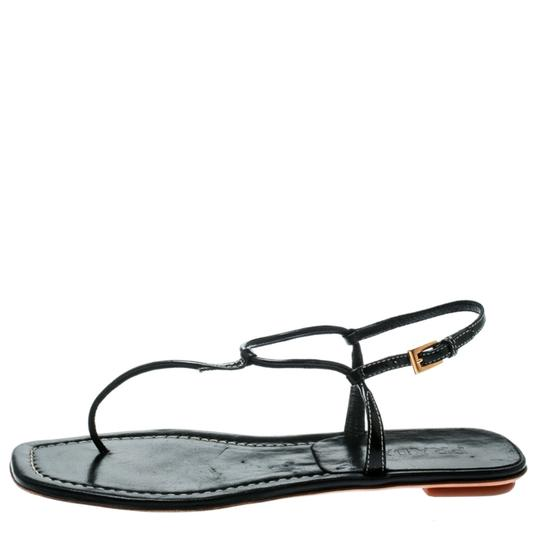 Prada Patent Leather Ankle Strap Leather Black Flats Image 4