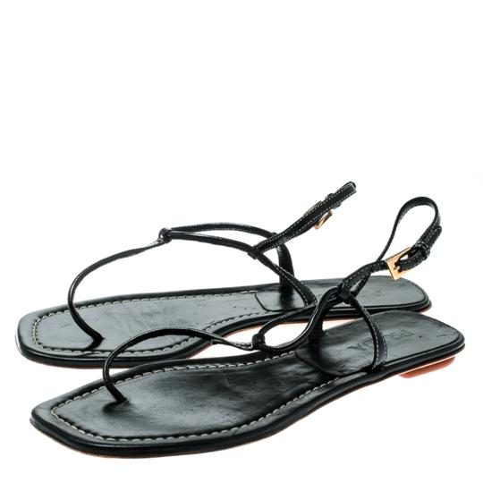Prada Patent Leather Ankle Strap Leather Black Flats Image 6