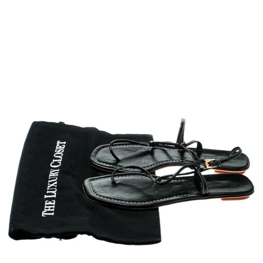 Prada Patent Leather Ankle Strap Leather Black Flats Image 7