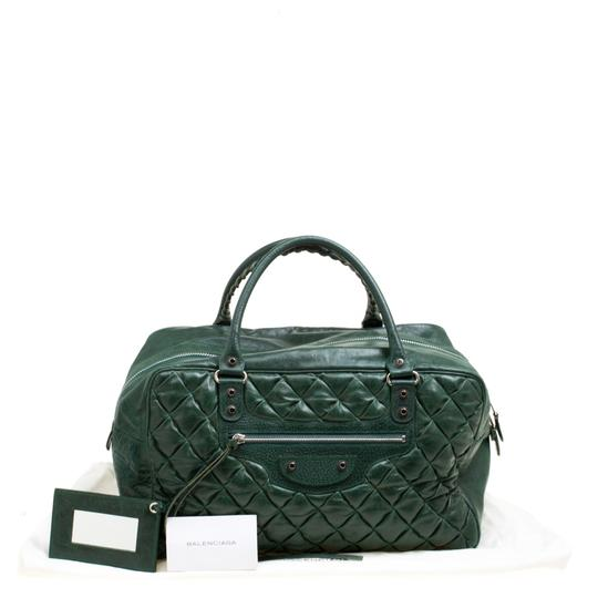 Balenciaga Leather Fabric Satchel in Green Image 11