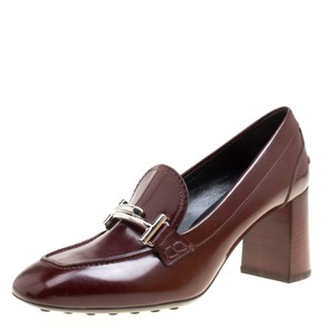 Tod's Leather Maxi Loafer Rubber Burgundy Pumps