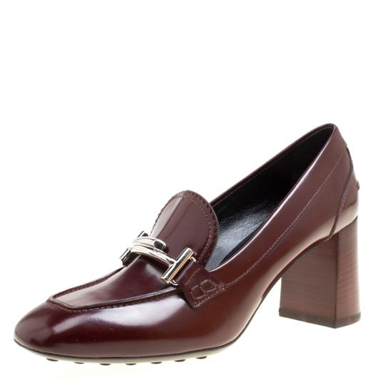 Preload https://img-static.tradesy.com/item/26427090/tod-s-burgundy-leather-gomma-maxi-double-t-court-loafer-pumps-size-eu-395-approx-us-95-regular-m-b-0-0-540-540.jpg