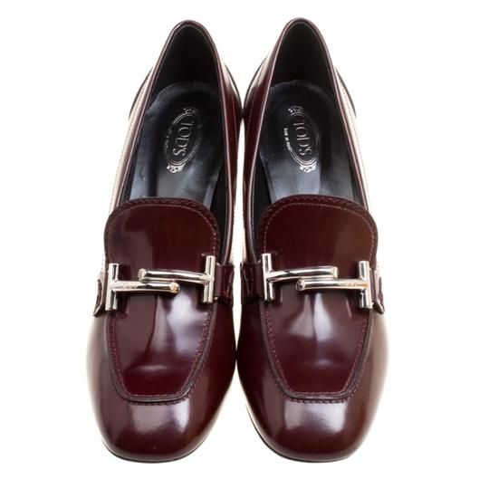 Tod's Leather Maxi Loafer Rubber Burgundy Pumps Image 1
