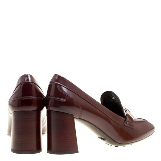 Tod's Leather Maxi Loafer Rubber Burgundy Pumps Image 2