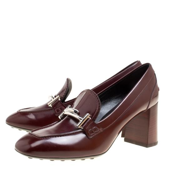 Tod's Leather Maxi Loafer Rubber Burgundy Pumps Image 5