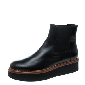 Tod's Leather Platform Ankle Black Boots