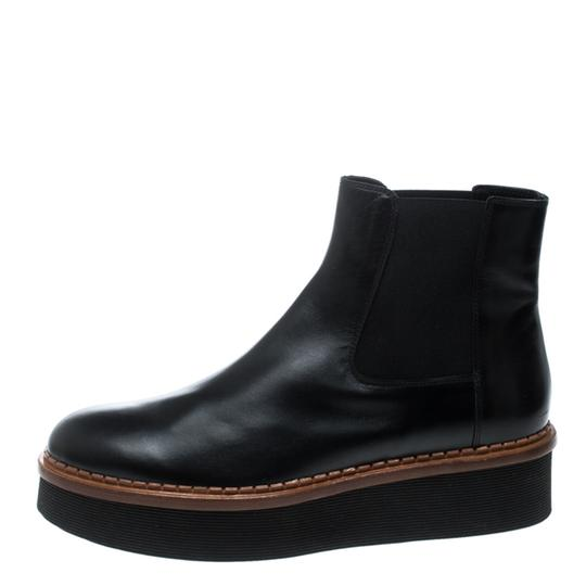 Tod's Leather Platform Ankle Black Boots Image 4