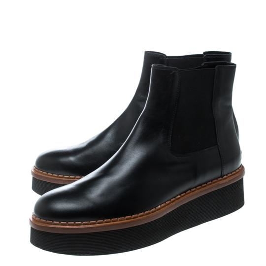 Tod's Leather Platform Ankle Black Boots Image 6
