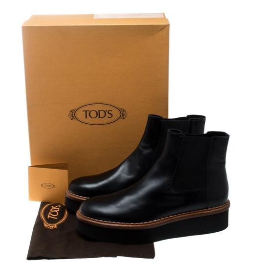 Tod's Leather Platform Ankle Black Boots Image 7
