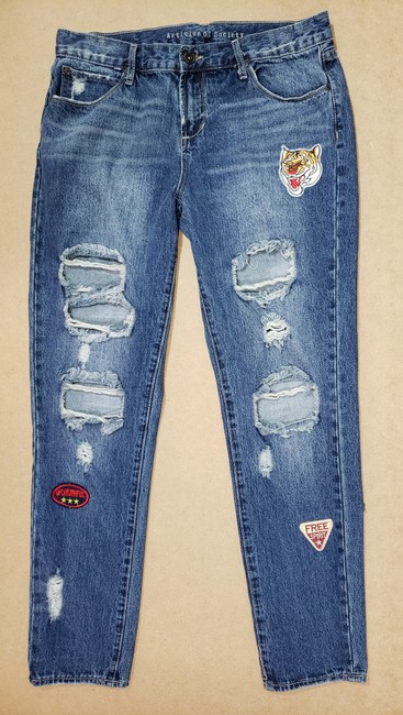 Articles of Society Patch Patchwork Cropped Destroyed Boyfriend Cut Jeans-Distressed Image 1
