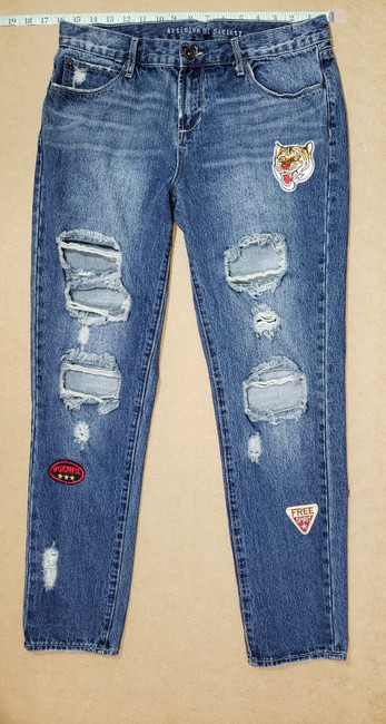 Articles of Society Patch Patchwork Cropped Destroyed Boyfriend Cut Jeans-Distressed Image 2