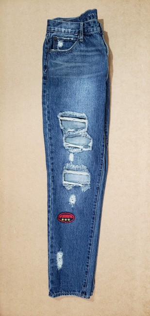 Articles of Society Patch Patchwork Cropped Destroyed Boyfriend Cut Jeans-Distressed Image 5