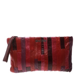Miu Miu Leather Satin Multicolor Clutch