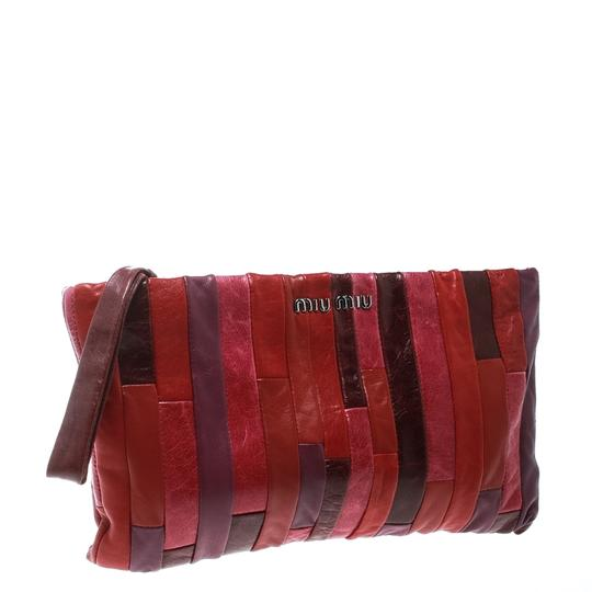 Miu Miu Leather Satin Multicolor Clutch Image 4