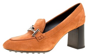 Tod's Suede Leather Orange Pumps