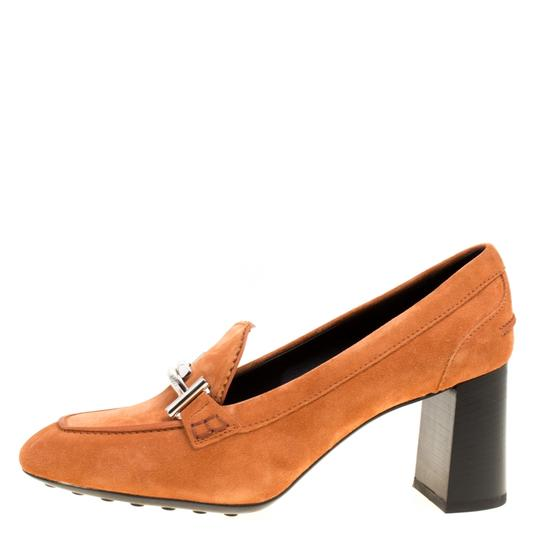 Tod's Suede Leather Orange Pumps Image 1